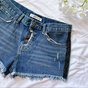 ZARA Sparkly Side Stripe Distressed Denim Shorts
